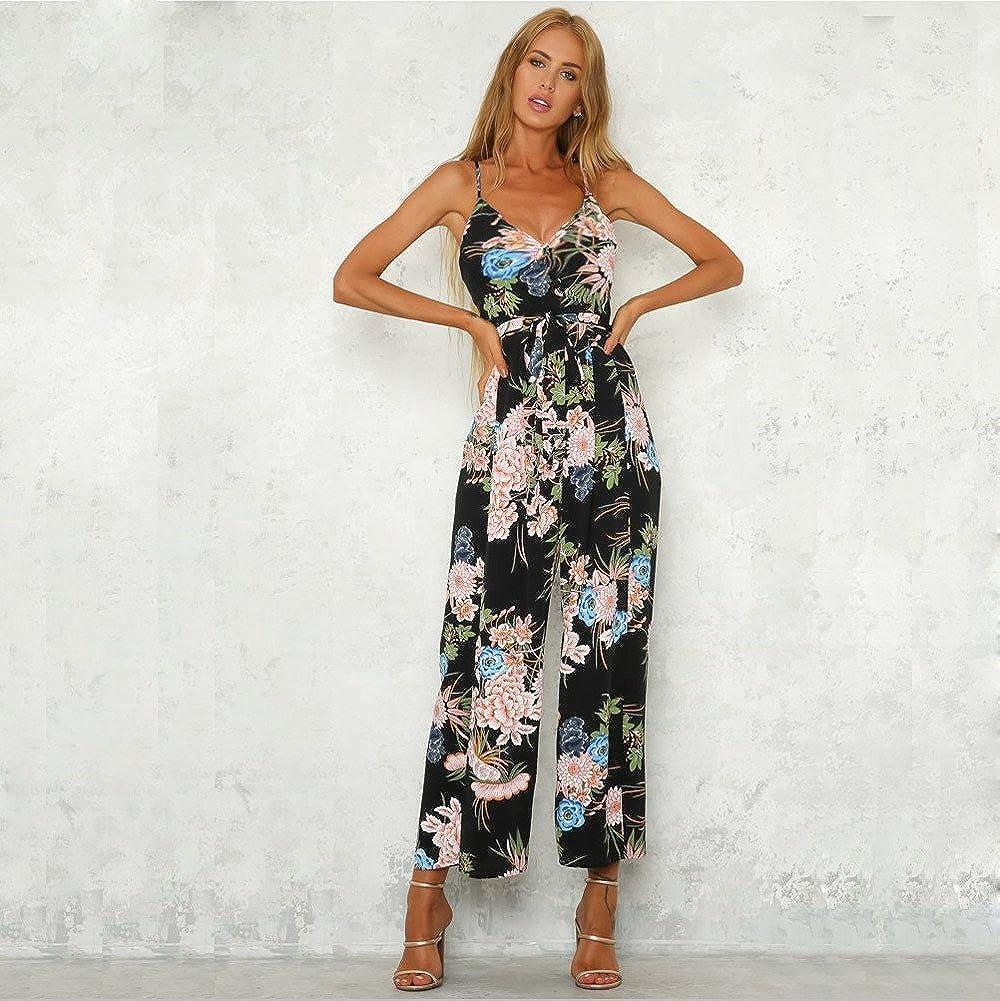 20c23e0030 Amazon.com  Jumpsuits for Women Criss Cross Bandage Flowy Floral Long Pants  Loose Beachwear Romper Jumpsuit Bodysuit  Clothing