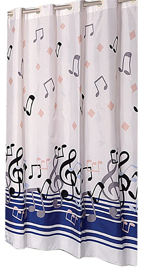Blue Note EZ On Hookless Fabric Extra Long Shower Curtain With Built In Hooks
