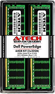 A-Tech 64GB (2x32GB) Memory for Dell PowerEdge R440, T440, R540, R640, T640, M640, FC640, R740, R740XD, R940, C6420 | DDR4 2666MHz ECC RDIMM PC4-21300 2Rx4 1.2V 288-Pin DIMM Server RAM Upgrade Kit