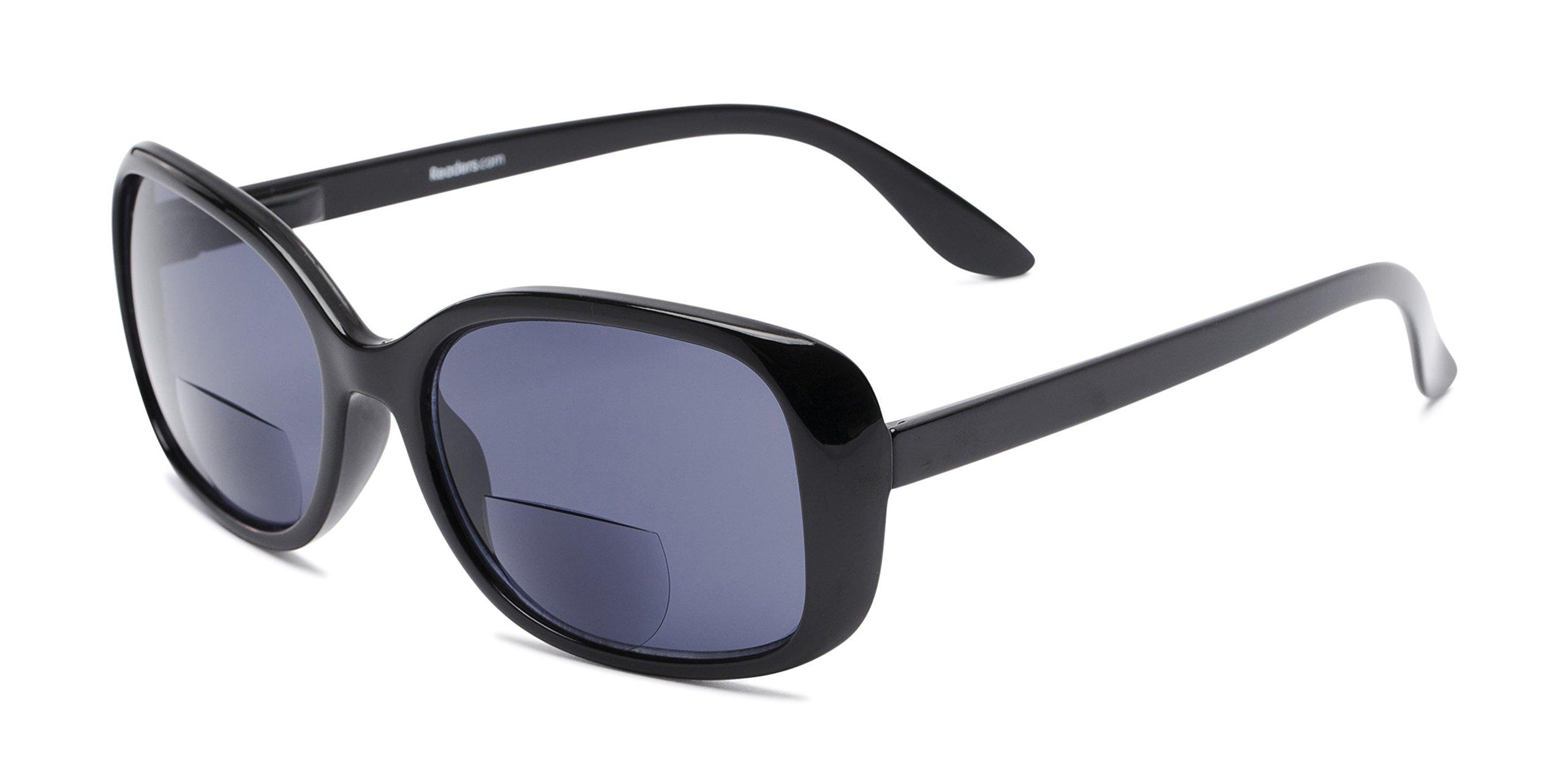 Readers.com | The Cassia Bifocal Sun Reader +2.00 Black with Smoke Reading Sunglasses