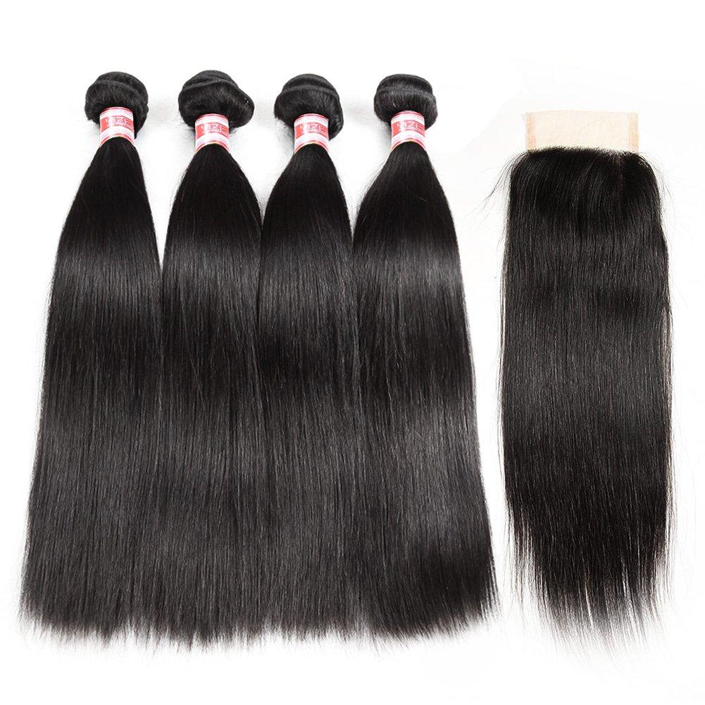 Hermosa Brazilian Straight Hair 4 Bundles with Closure 7A Unprocessed Virgin Brazilian Hair with Closure Human Hair Natural Black (18 20 22 24 with 16 closure)