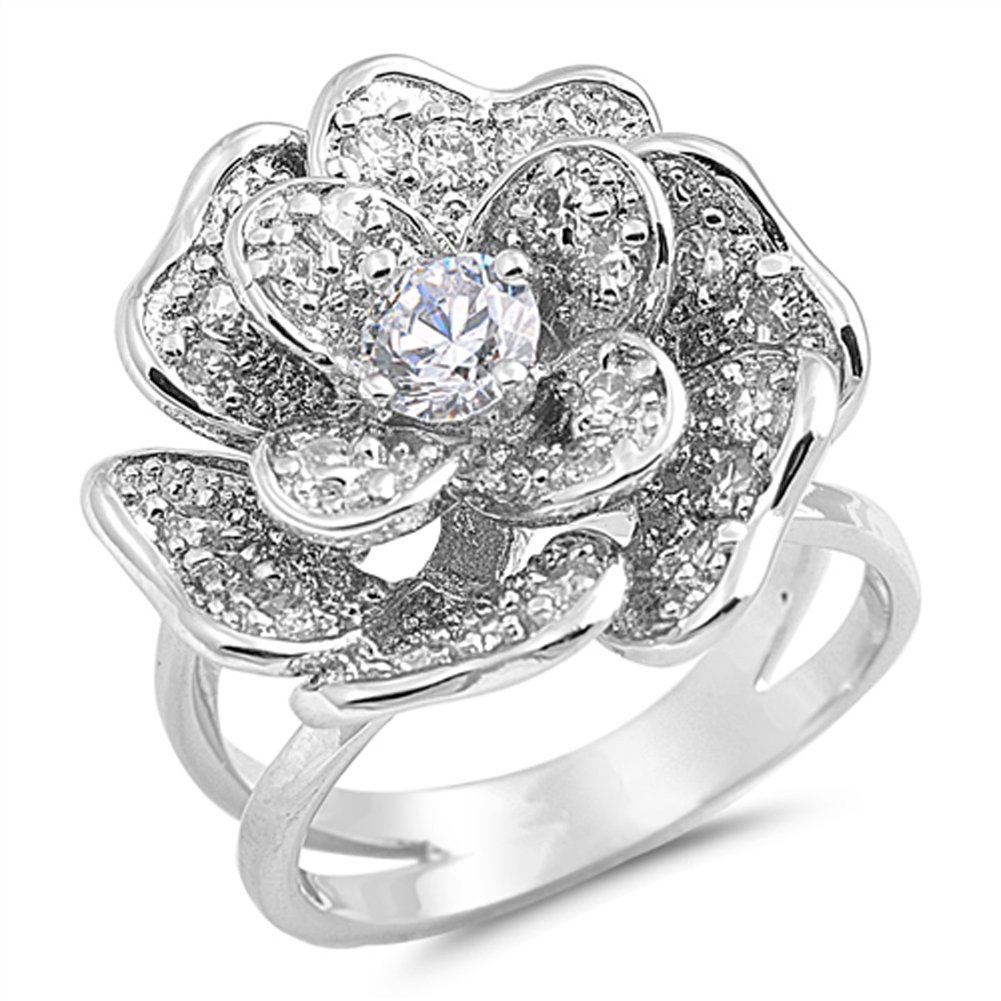 Large Rose Flower Clear CZ Fashion Ring New .925 Sterling Silver Band Size 8