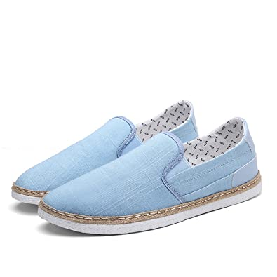 Men Shoes Summer Breathable Slip On Canvas Shoes Patchwork Sewing Thread Solid Simple Fashion Flats Loafers