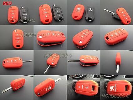 Carcasa roja de silicona con 3 botones para llave de coche Peugeot 2013 2014 2015 2016 2017 208 406 508 2008