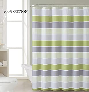 100 Cotton Fabric Shower Curtain Stripe Design Light And Dark Green White Silver