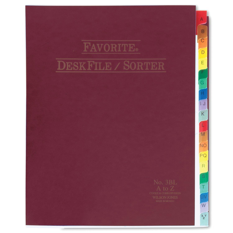 Wilson Jones Favorite Desk File/Sorter, A-Z Index, 10 x 12 Inches, Burgundy (WCC3C) ACCO Brands