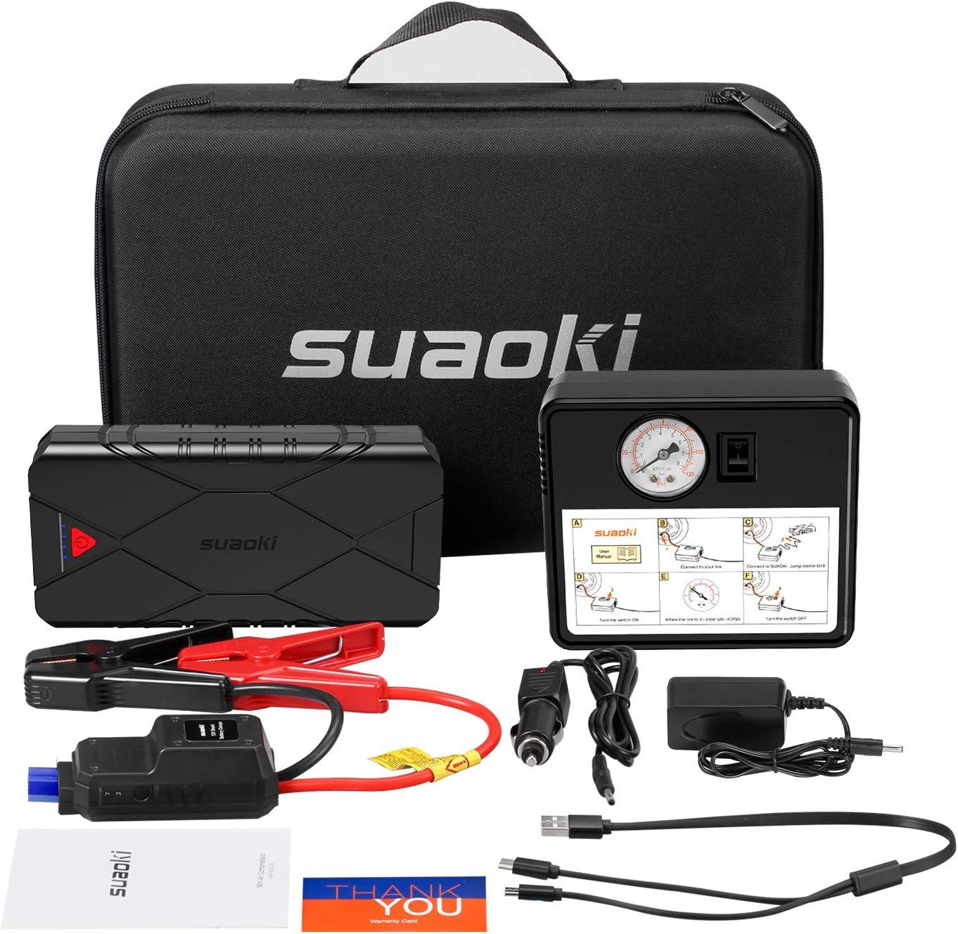 SUAOKI U18Plus Arrancador de coche 1200A, 16000mAh con Compresor aire portátil 120psi, tipo C, carga rápida USB3.0 linterna LED, hasta 7.5L de gasolina, 6.0L diesel): Amazon.es: Bricolaje y herramientas