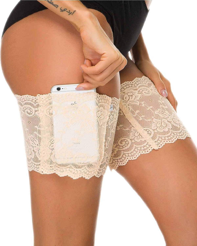 heekpek Damen Anti Chafing Bands B/änder Socke Anti-Scheuern Oberschenkel Bein W/ärmer mit Cellphone Pocket
