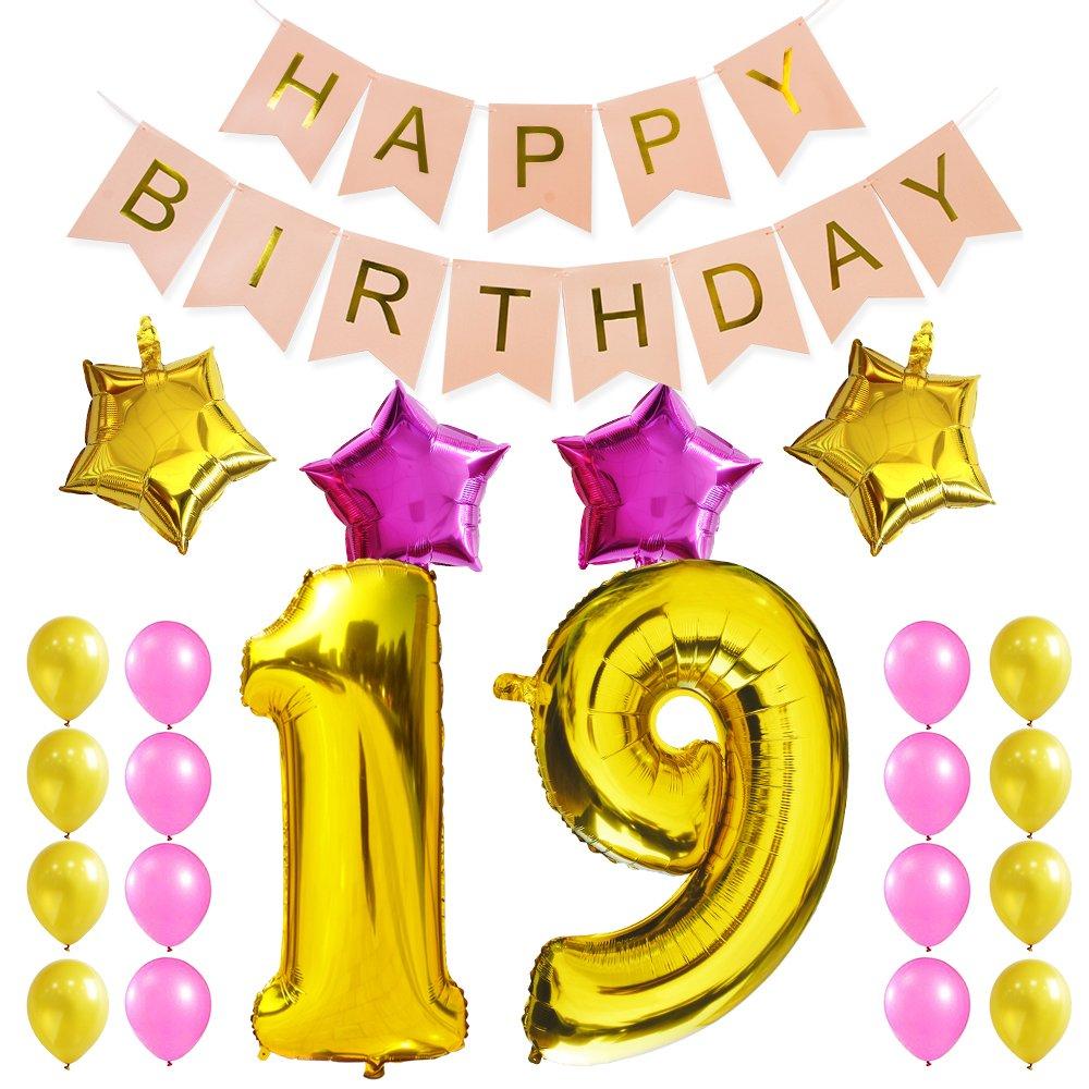 Amazon KUNGYO 19Th Birthday Party Decorations Kit Pink Happy