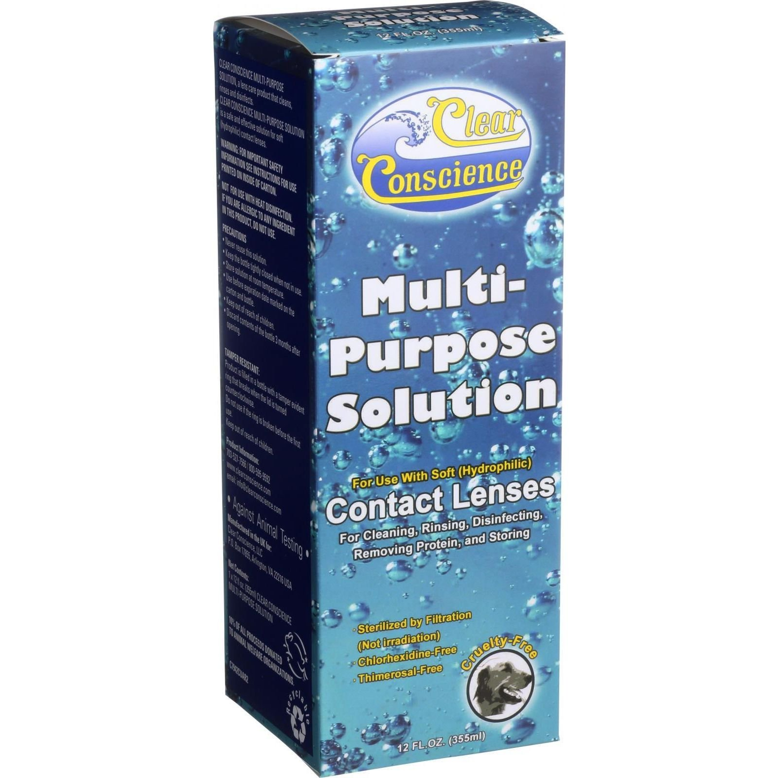 Clear Conscience Multi-Purpose Contact Lens Solution - Travel Size, 3 Ounce - 6 per case.