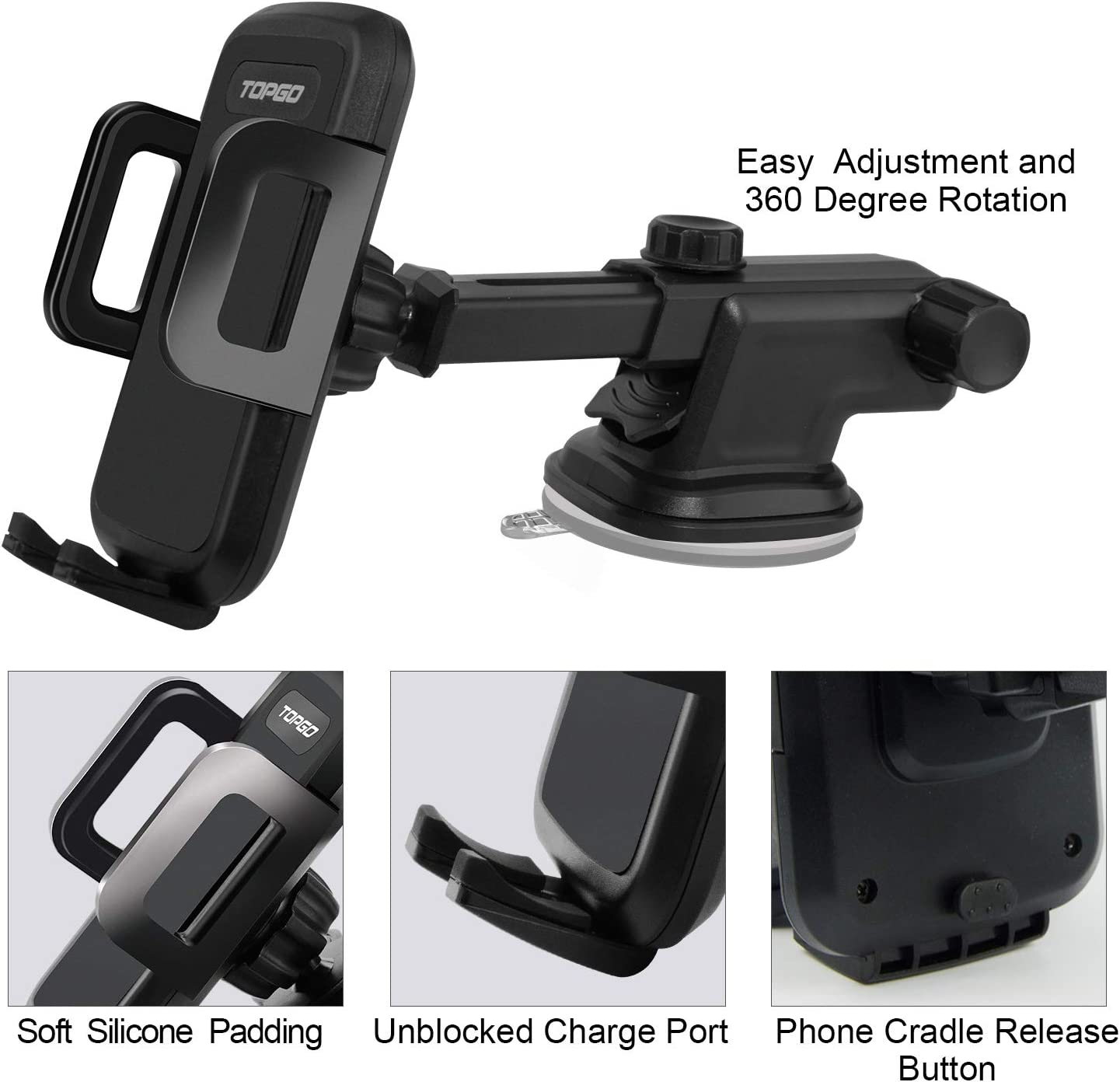 Car-Phone-Mount-Upgraded-Cell Phone Holder for Windshield Dashboard with Adjustable Long Arm Washable Strong Suction Cup Sticky Gel Pad for iPhone 11 Pro//XR//XS Max//6s//Samsung S10+//Note 9//S8 Plus