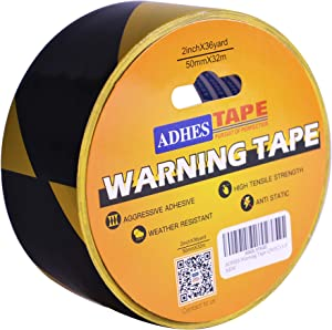 """ADHES Caution Tape Floor Tape Warning Tape Yellow and Black Weather-Resistant 2"""" X 18 Yds"""