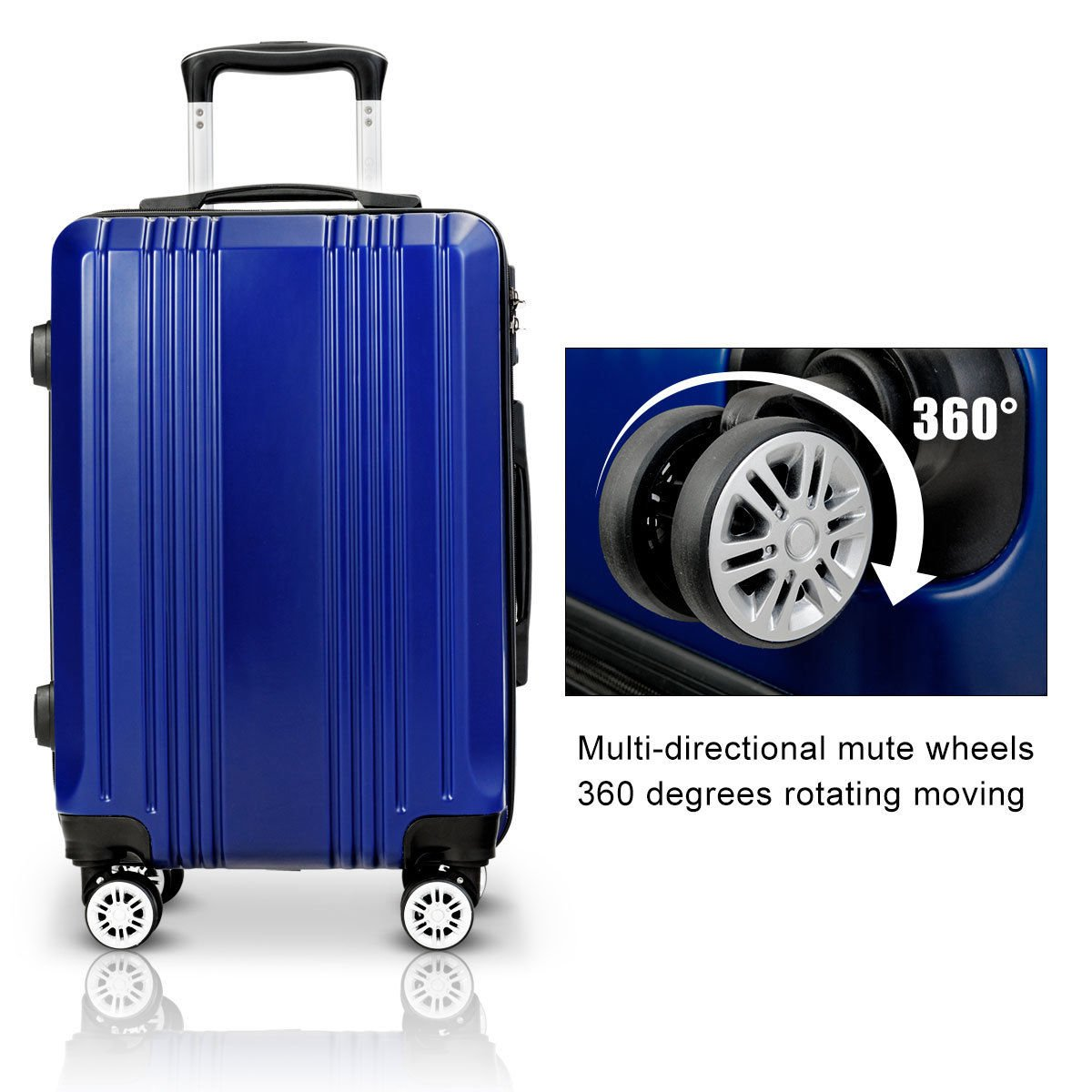 Navy Blue 3Pcs Trolley Case Set ABS Shell Travel Luggage size 20 24 28 w//Lock Spinner /& Multi-directional Wheels