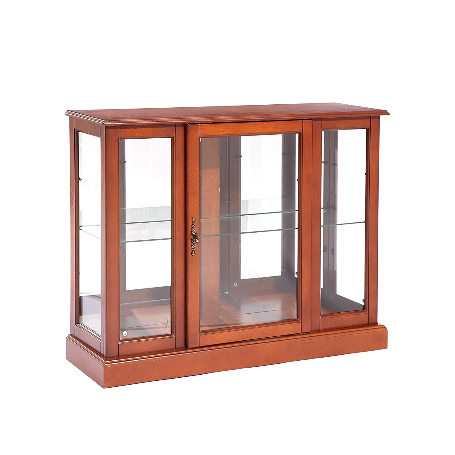 MARCAL Curio Cabinets with Mirrored Back Wall and Glass on Three Side, Oak Finish