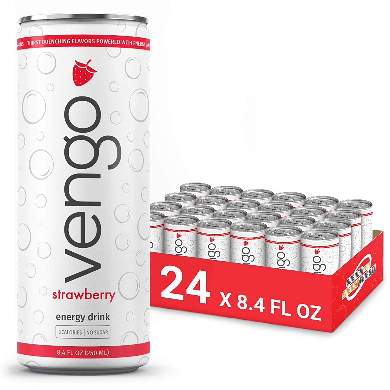 Vengo Energy Drink - Strawberry (24 Pack / 8.4 FL OZ), Zero Calorie, Sugar Free, Natural Vitamin B6 and B12