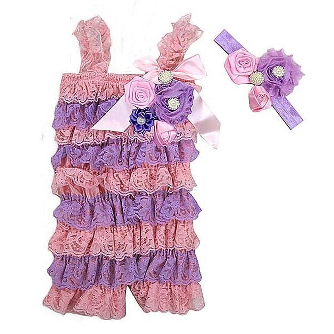 Amazon.com: Bebé rosetas elegante perla Encaje Petti Romper ...