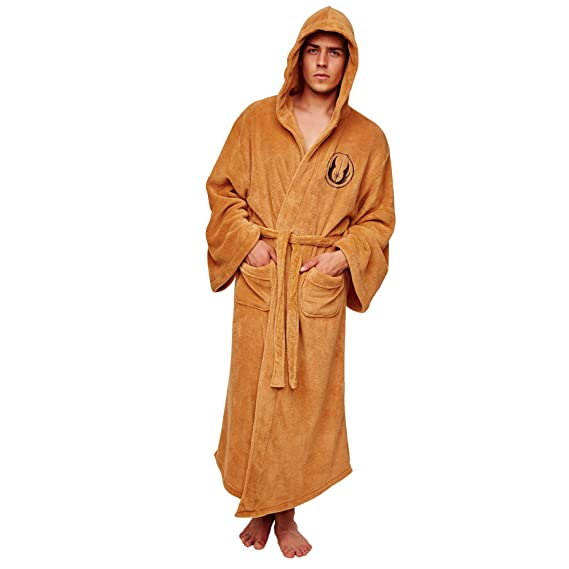 Mens Star Wars Jedi Tan Dressing Gown Hooded Robe: Amazon.co.uk ...