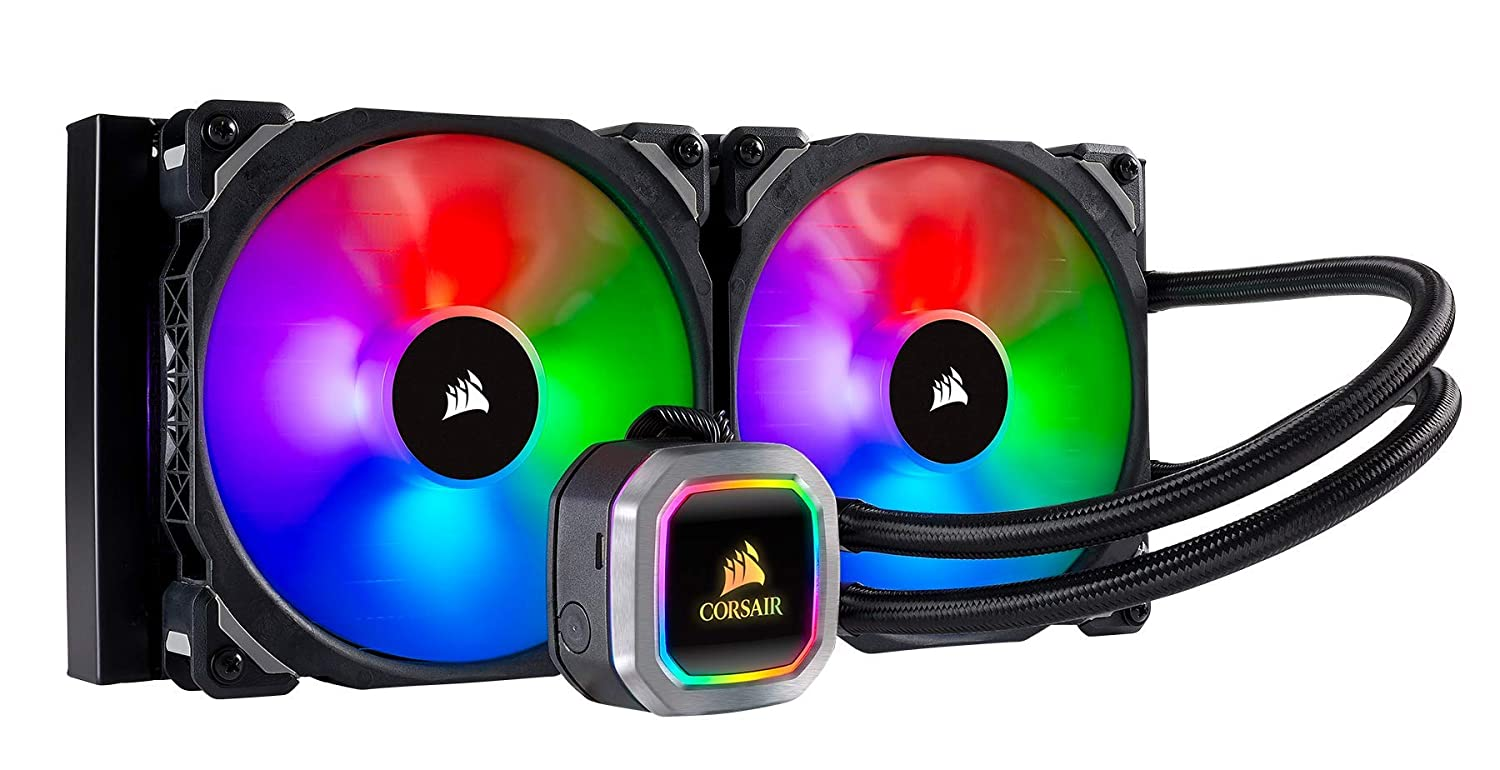CORSAIR HYDRO Series H100i RGB PLATINUM AIO Liquid CPU Cooler, 240mm Radiator, Dual 120mm ML Series PRO RGB PWM Fans, RGB Lighting and Fan Software Control, Intel 115x/2066 and AMD AM4/TR4 compatible CW-9060039-WW