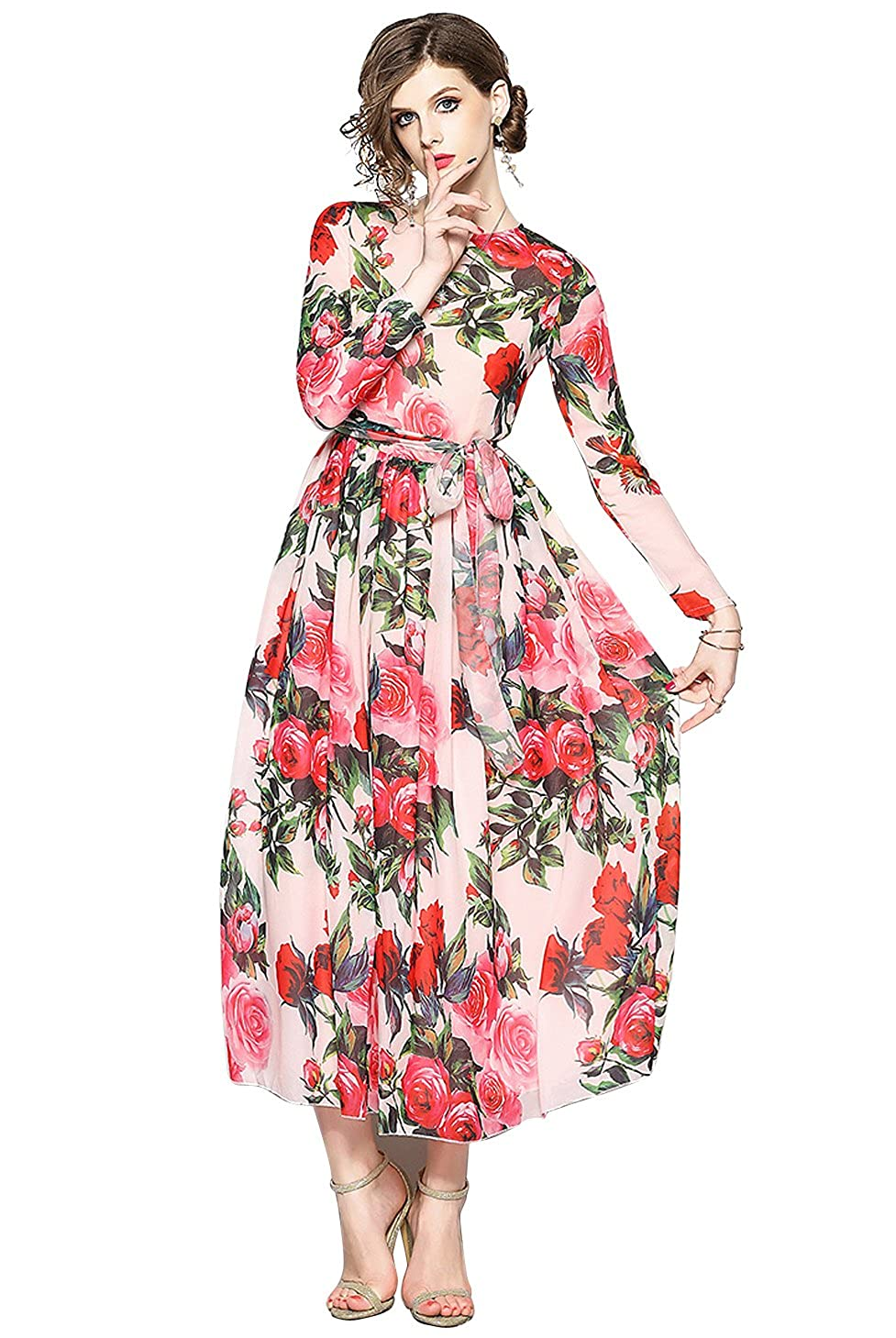 a94fc871dbe Floral Long Sleeve Maxi A Line Dress - Gomes Weine AG