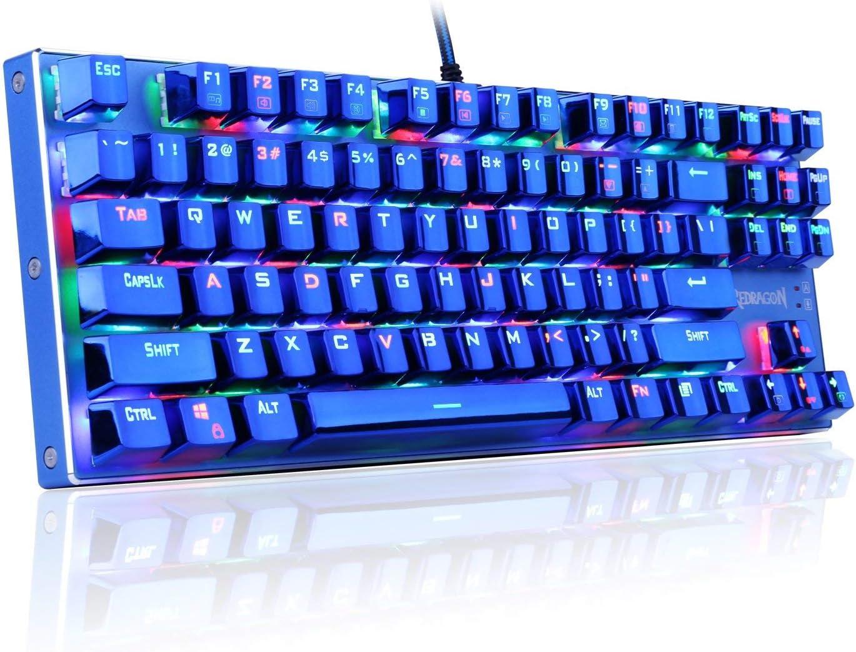 Redragon K566B-RGB Mechanical Gaming Keyboard, RGB Backlit, Blue Switches, Solid Durable All Aluminum Construction, Stylish Metallic Blue Electroplated Keys and Base, 87 Standard Keys [並行輸入品]