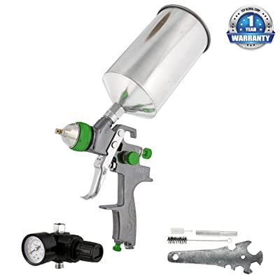 TCP Global Brand Professional New 2.5mm Hvlp Spray Gun- Great for High Build Auto Paint Primer - Metal Flake Application and Any Heavy Bodied Paint or Primer Material -with Air Regulator: Automotive