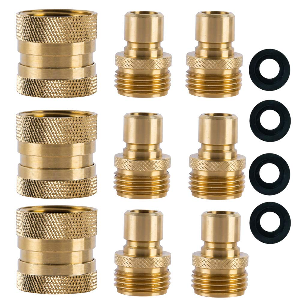 "HQMPC Garden Hose Quick Connect Brass Hose Quick Connectors Water Hose Connector 3/4"" (3 Female+ 6 Male)"