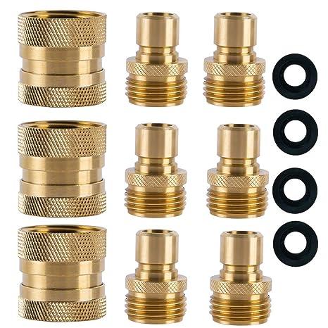HQMPC Garden Hose Quick Connect Brass Hose Quick Connectors Water Hose  Connector 3/4u0026quot;