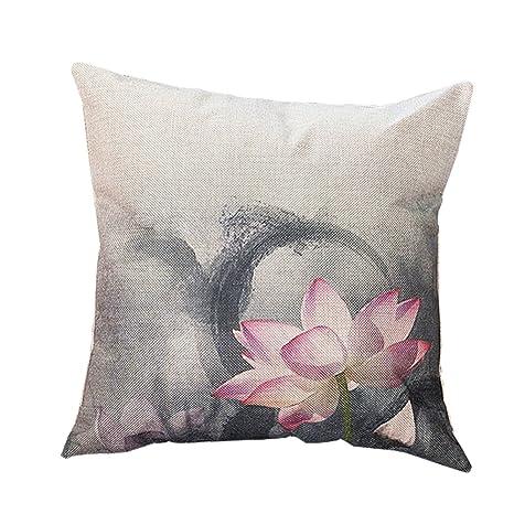 BIGBOBA Funda de cojín de lino estilo chino con patrón de ...