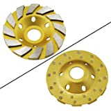 "OCR 4"" Concrete Turbo Diamond Grinding Cup Wheel Three Row Turbo Cup Disc Grinder for Angle Grinder 12 Segs Heavy Duty (Yellow 12segs B)"
