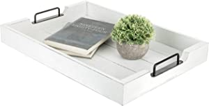 MyGift Vintage White Wood 20-Inch Serving Tray with Black Metal Handles