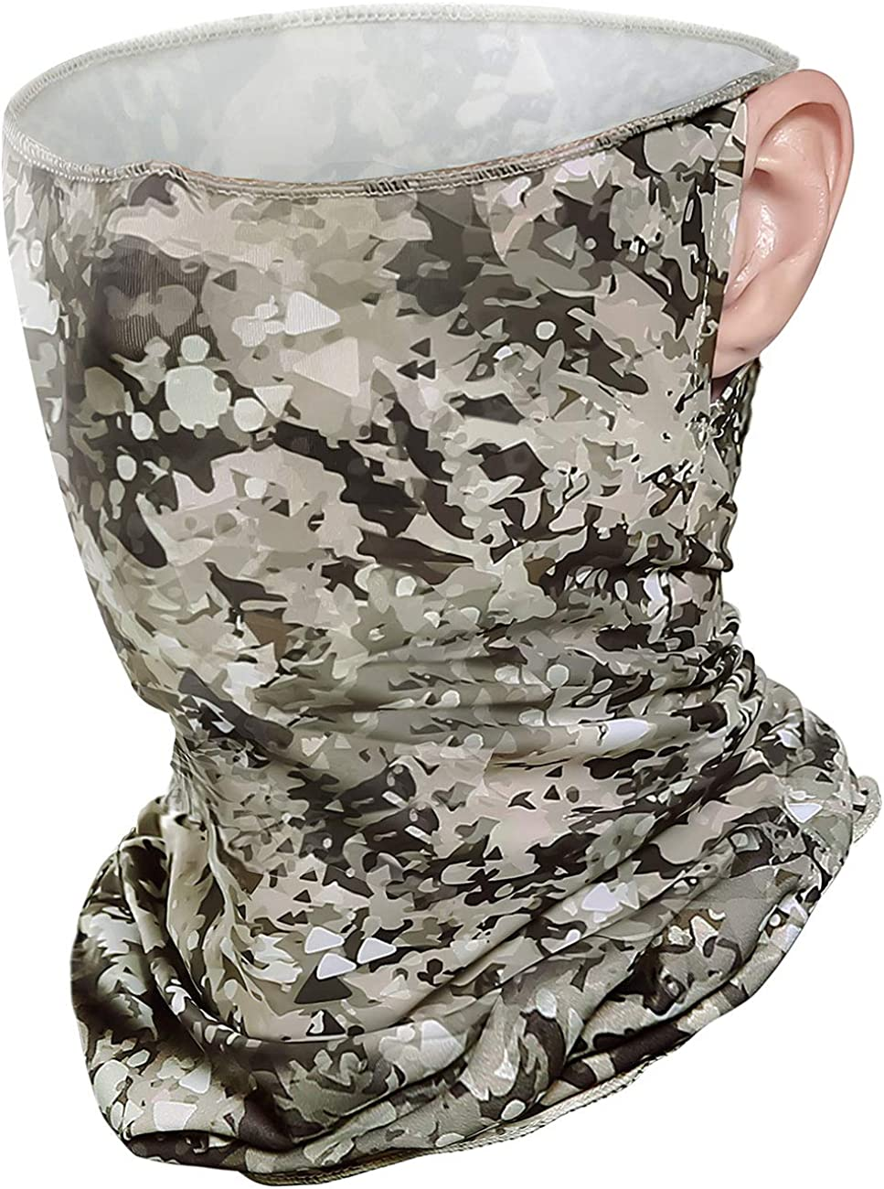 Summer UV Protection Face-Covering with Ear Loops, Cooling Neck Gaiter Tube-Mask for Cycling Fishing