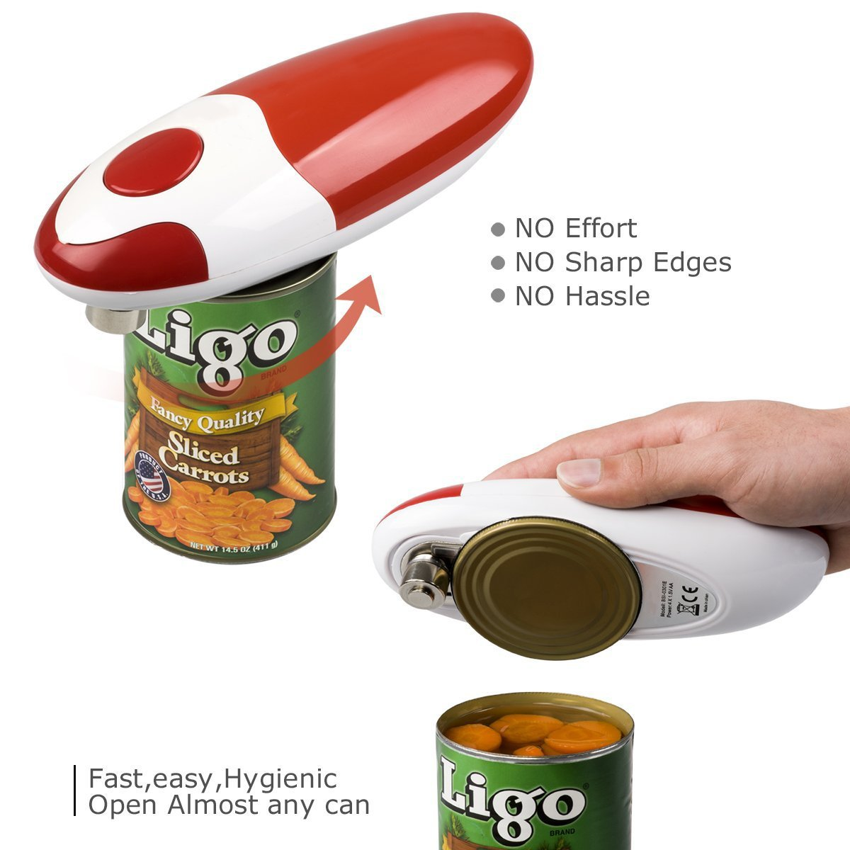 Smooth Soft Edge Electric Can Opener -- One-Button Manual Start / Stop By Can Master (Red)