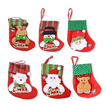 MMTX 6 Piezas de Medias de Navidad Bolsas de Regalo, Santa Claus muñeco de Nieve Elk patrón de Oso decoración árbol de Navidad Caramelo Regalo Titular ...