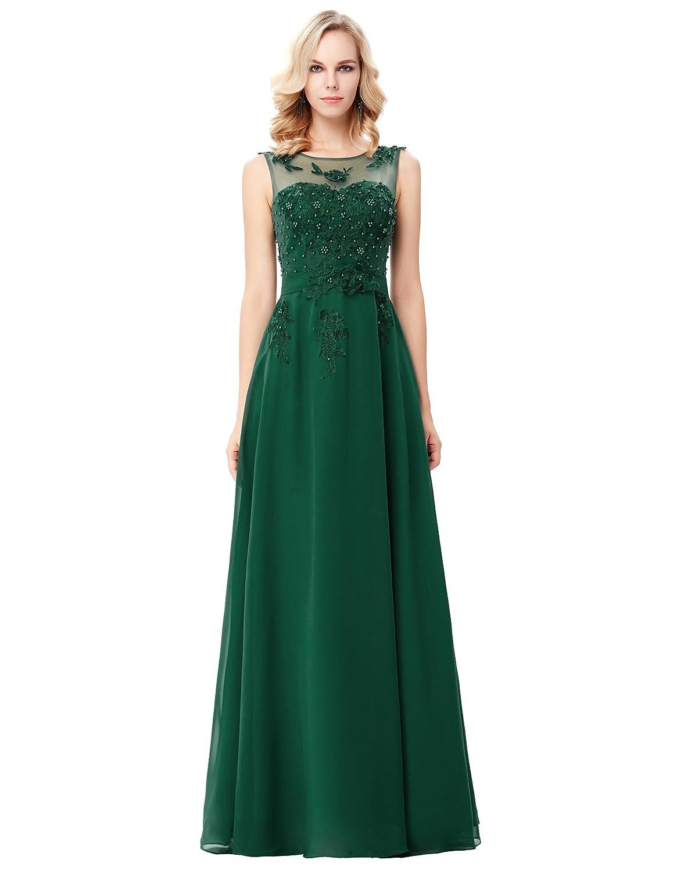 TALLA 46. GRACE KARIN Vestido Elegante para Boda Ceremonia De Vuelo Encaje Floral Precioso Maxi Verde 46