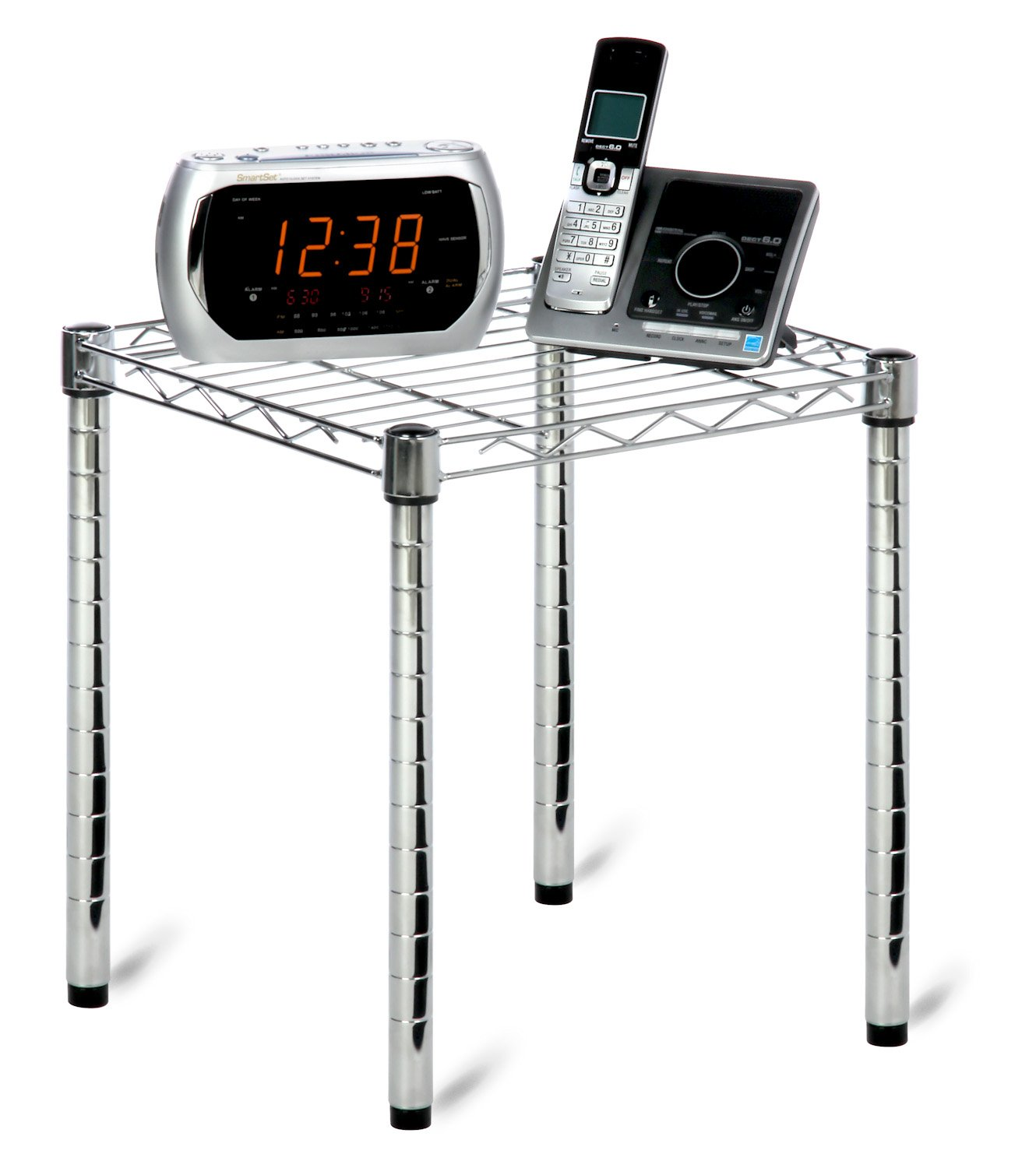 Honey-Can-Do SHF-01504 Commercial Side Table Small Wire Chrome Night Stand Honey-Can-Do International