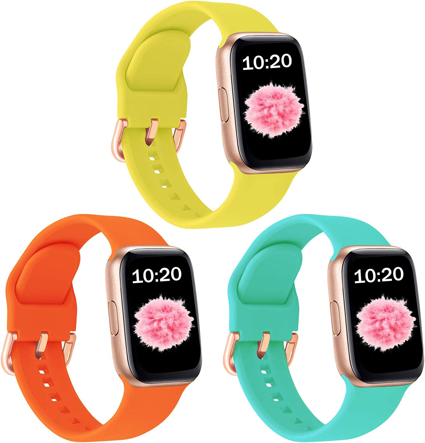 SinJonden 3-Pack Bands Compatible with Apple Watch 42mm 44mm 38mm 40mm, Silicone Bands with Rose Gold Buckle for iWatch Series SE/6/5/4/3/2/1 Women (42mm/44mm-M/L, Bright Yellow/Orange/Teal)