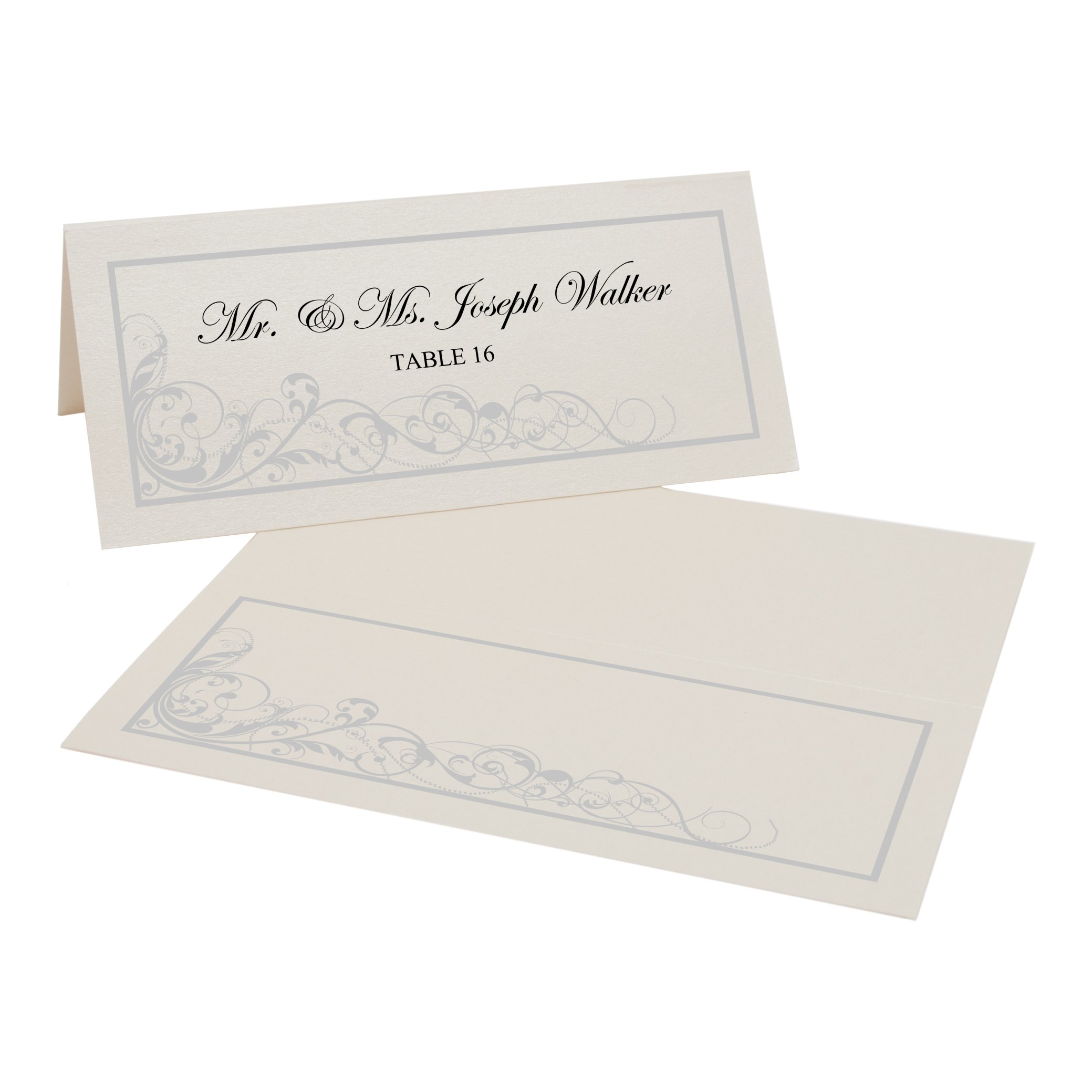 Scribble Vintage Swirl Easy Print Place Cards, Champagne, Silver, Set of 350 (88 Sheets)