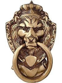 CraftVatika Lion Face Design Brass Door Knocker For Front Door | Vintage  Style Pull Door Ring