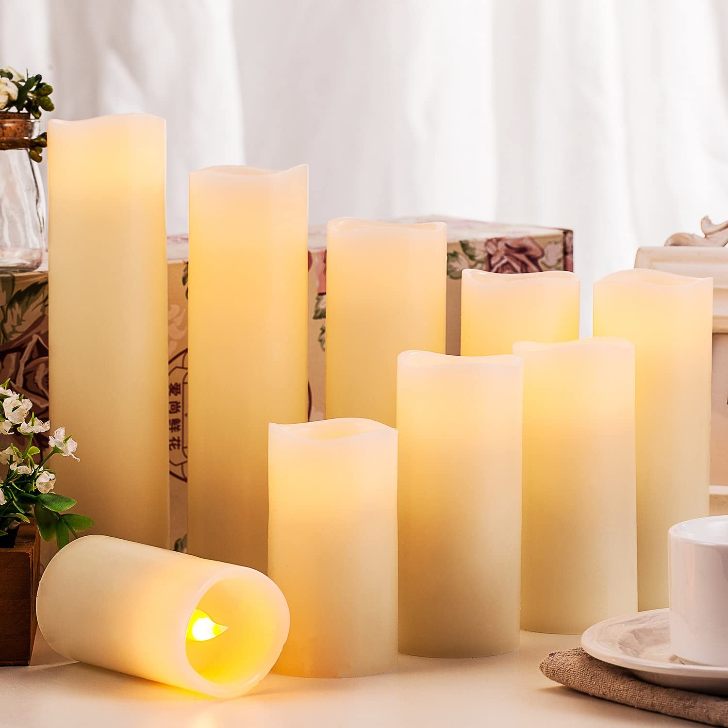 Flameless Candles Battery Operated Candles 4 5 6 7 8 9 Set of 9 Ivory Real Wax Pillar LED Candles with 10-Key Remote and Cycling 24 Hours Timer