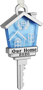 Koreno 2020 Our New Home Key Ornament, Home Keepsake Christmas Tree Ornament Year Dated First Home Gifts Metal New Homeowners New House Moving in Together First Home Key (2)