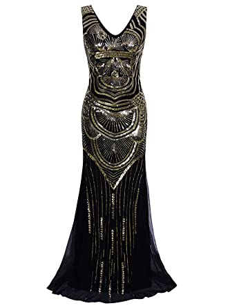Vijiv 1920s Long Maxi Prom Gowns Sequin Mermaid Bridesmaid Formal Evening Dress: Amazon.co.uk: Clothing