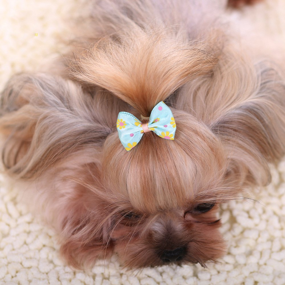 YOY 50pcs/25 Pairs Adorable Grosgrain Ribbon Pet Dog Hair Bows with Rubber Bands - Puppy Topknot Cat Kitty Doggy Grooming Hair Accessories Bow knots Headdress Flowers Set for Groomer by YOY (Image #5)