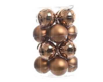 Weihnachtsdeko Kugeln Groß.16 Christbaumkugeln Glas 80mm Braun Lederbraun Weihnachtskugeln Baumschmuck Weihnachtsdeko Kugeln Deko