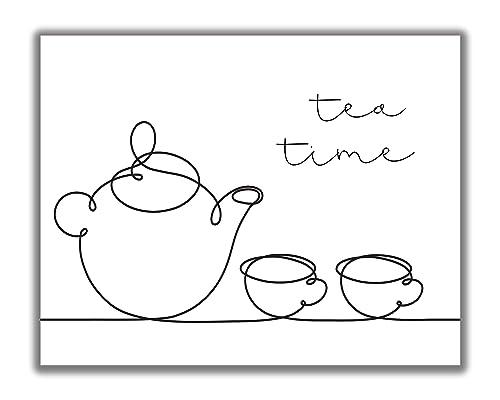 Amazon Com Tea Time Wall Art 11x14 Unframed Minimalist Modern Black White Decor Print Whimsical Line Art Teapot Teacup Drawing Makes A Perfect Gift For Any Tea Lover Handmade