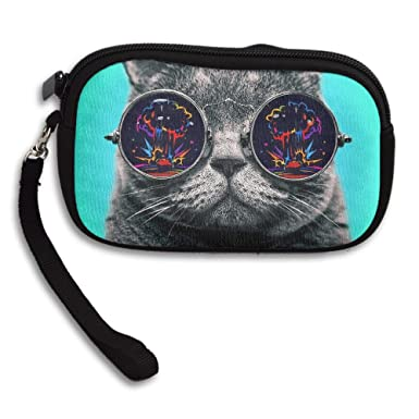 Amazon.com: Gato con gafas de colores cómodo monedero ...