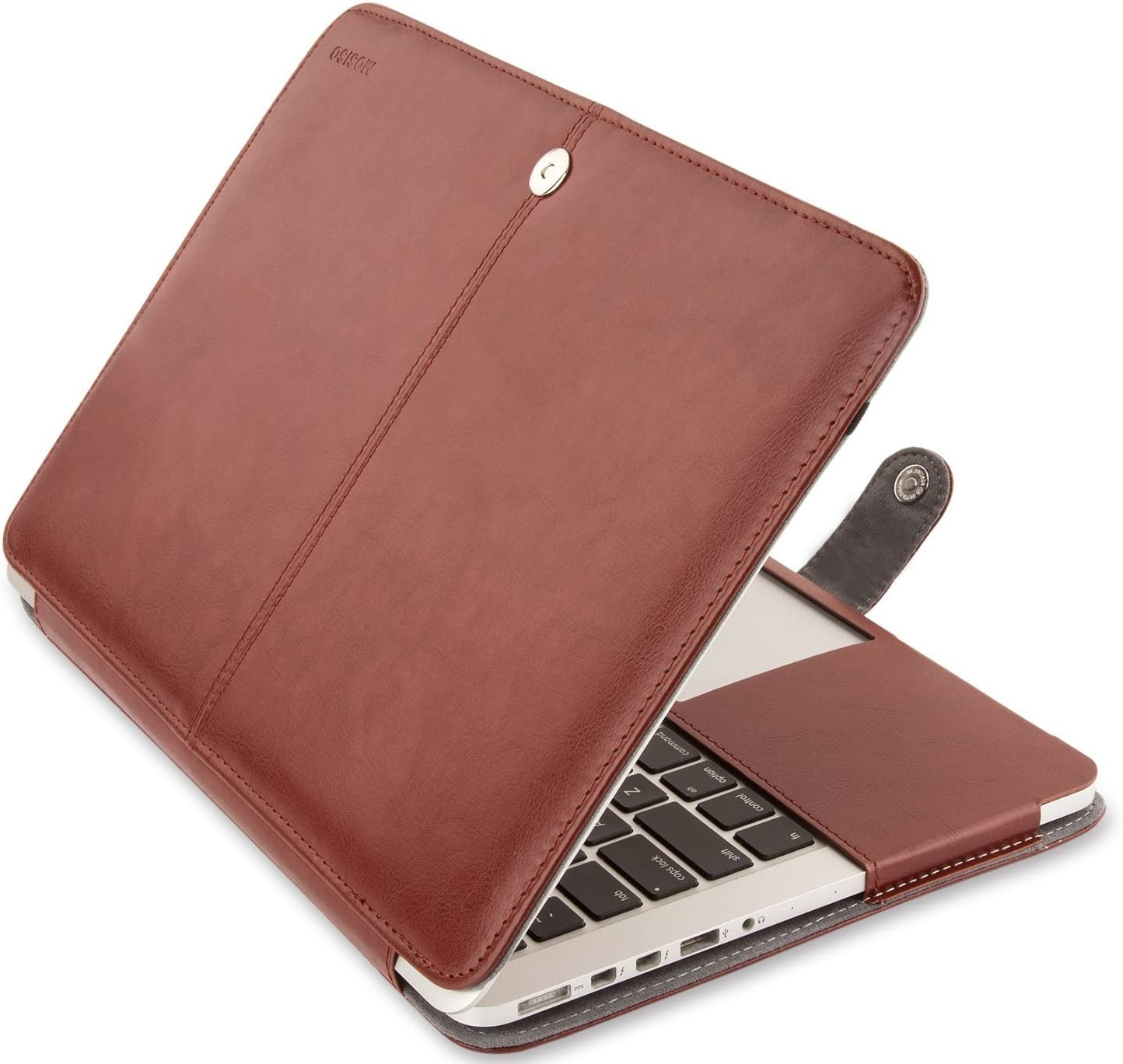 MOSISO MacBook Pro 13 inch Case, Premium PU Leather Book Folio Protective Stand Cover Sleeve Compatible with MacBook Pro 13 inch Retina (A1502/A1425, Version 2015/2014/2013/end 2012), Brown
