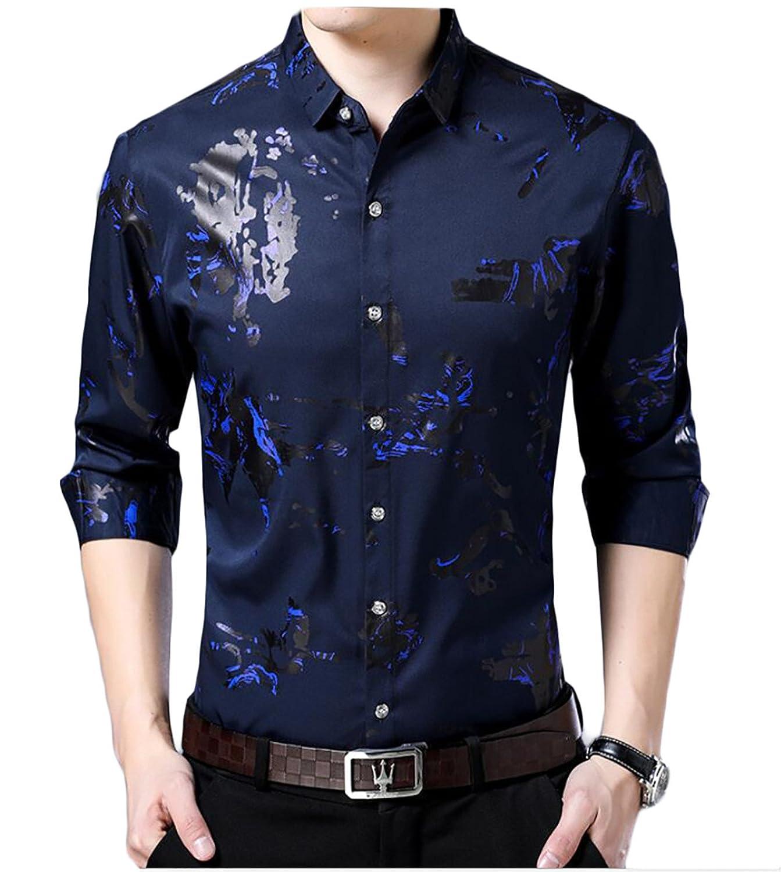 Qiangjinjiu Mens Lapel Long Sleeve Floral Printed Single Breasted Waterfall Dress Shirt