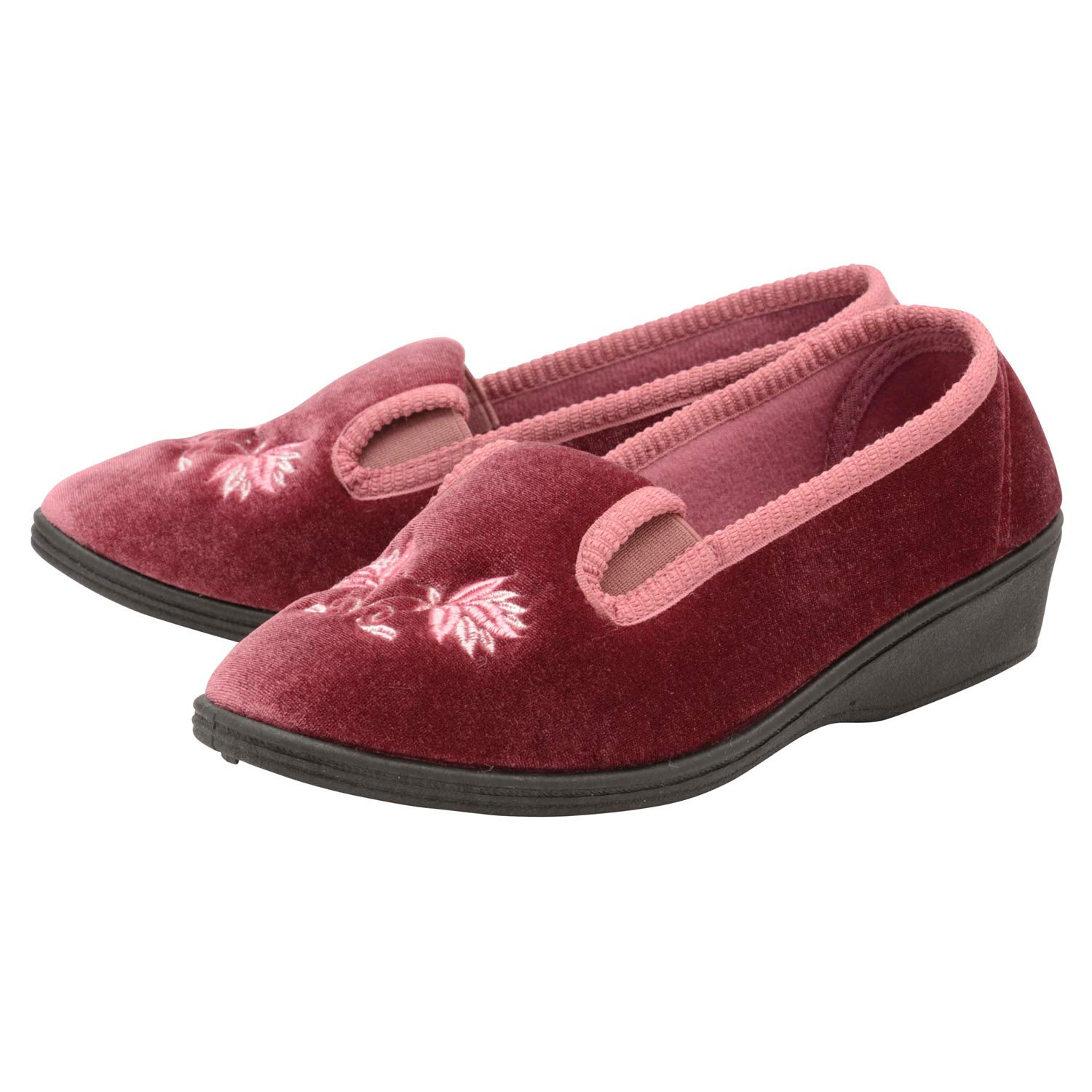 6c37b8a3873f Dunlop Womens Low Wedge Heel Floral Embroidered Velour Slippers   Amazon.co.uk  Shoes   Bags
