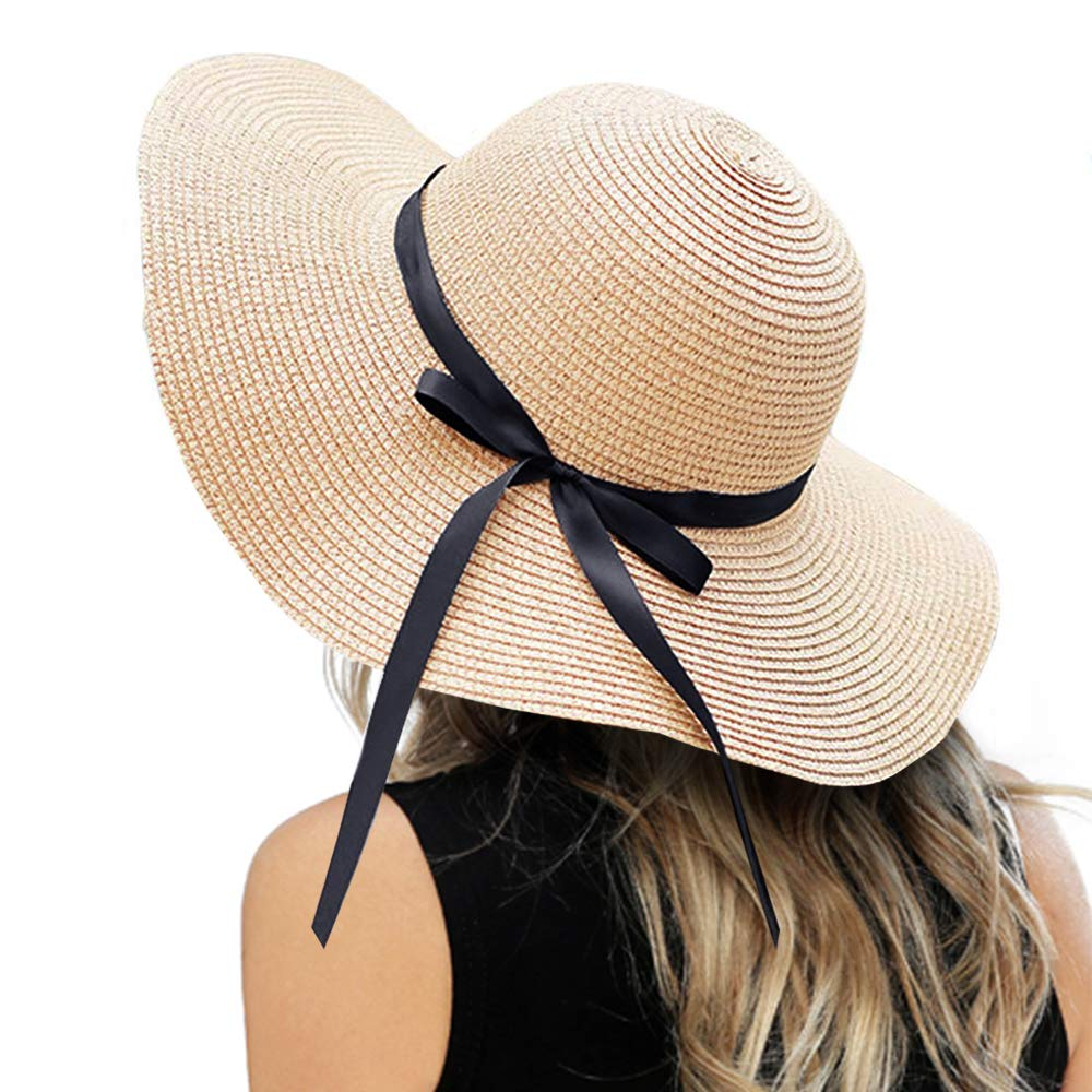 ZOORON Womens Floppy Summer Sun Beach Straw Hat, Foldable Wide Brim Hats with Bowknot UPF50 by ZOORON