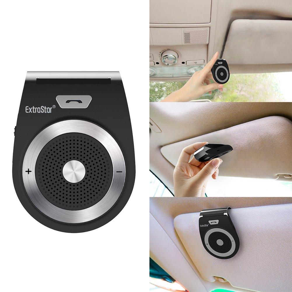 Wireless car Speakerphone Compatible with iPhone EXTRASTAR Bluetooth handsfree car kit HTC Wireless Bluetooth 4.1 in-car Speakerphone Simultaneously Pair 2 Phones Built-in Mic Samsung iPad